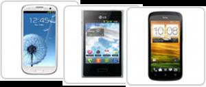 Samsung S3, LG E400, HTC One S
